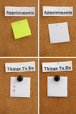 Paper pinned to a cork board. Stock Image