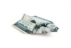 The paper plane. Is made of a hundred-dollar banknote Stock Photo