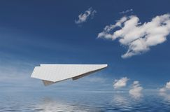 Paper plane above water Royalty Free Stock Photo