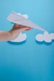 Paper plane, blue background Stock Photo