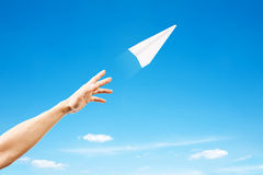 Paper plane. Blue sky on background royalty free stock photos
