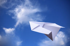 Paper Plane With Blue Sky Stock Photos