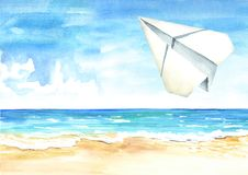 Paper plane in the blue sky over the sea and beach, Travel concept. Watercolor hand drawn illustration  background.  royalty free illustration