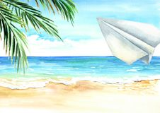Paper plane in the blue sky over the sea and beach, Travel concept. Watercolor hand drawn illustration and background.  royalty free illustration