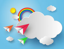 Paper plane on blue sky Royalty Free Stock Photos