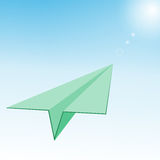 Paper Plane in  Blue Sky  Sunlight. Vector Royalty Free Stock Images