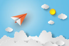 Paper plane on blue sky. With sunshine stock illustration