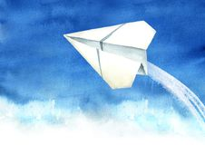 Paper plane in the blue sky, Travel concept, Watercolor hand drawn illustration  background.  vector illustration