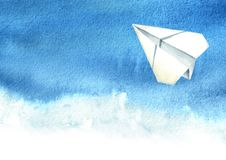 Paper plane in the blue sky, Travel concept, Watercolor hand drawn illustration isolated on white background.  royalty free illustration