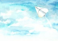 Paper plane in the blue sky. Travel concept. Watercolor hand drawn illustration isolated on white background.  royalty free illustration