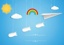 Paper plane and bombs toys Royalty Free Stock Photo