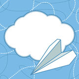 Paper Plane and Cloud Vector Background. Paper airplane flying above cloud with blank space for text. Paper plane and cloud flat design. Can be used for Royalty Free Stock Photography