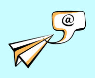 Paper plane delivering mail message in speech bubble. Pop art style sign. Air mail, post letter, delivery service or e-mail  Stock Photos