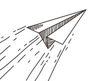 Paper plane drawing. In doodle Stock Photo