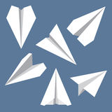 Paper Plane Flat Symbols Set. Paper Origami Airplanes. Paper plane navigational flat icons set. Collection of paper origami airplane symbols. Six vector icons Royalty Free Stock Images