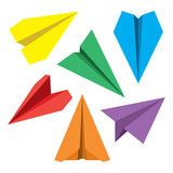 Paper Plane Flat Symbols Set. Paper Origami Airplanes. Paper plane navigational flat icons set. Collection of paper origami airplane symbols. Six vector icons Stock Photography