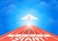 Paper Plane Fly On Running Track Over Blue Sky Concept,  Illustration