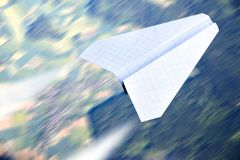 Paper plane flying Royalty Free Stock Photography