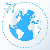 Paper plane flying around planet Royalty Free Stock Image