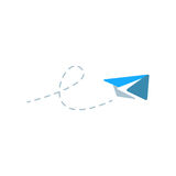 Paper plane flying. Illustration of a paper plane flying that can be used as logo symbol or as isolated design element Royalty Free Stock Photos