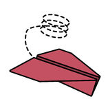 paper plane flying model line dotted Stock Images