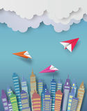 Paper plane. Paper plane flying over the town royalty free illustration