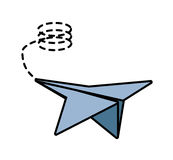 Paper plane free time leisure line dotted Royalty Free Stock Photo