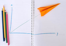 Paper plane graph up Stock Photo