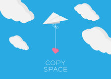 Paper plane hanging heart flying Royalty Free Stock Photos