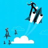 Paper plane. Haste. Victory over parties. Boost acceleration. Vector illustration Stock Image