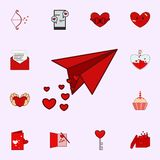 Paper plane, heart, valentine s day icon. Love icons universal set for web and mobile vector illustration