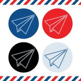 Paper plane icons on white background. Blue, light-blue, black and red Stock Photography