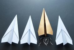 Paper plane leader concept Royalty Free Stock Photo