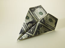 Paper Plane Made of American Currency. Paper Aeroplane Made of American Currency Stock Images