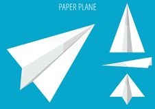 PAPER PLANE MINIMALISTIC ORIGAMI STYLE ON BLUE. PAPER PLANE MINIMALISTIC ORIGAMI STYLE COLLECTION ON BLUE BACKGROUND Stock Photos
