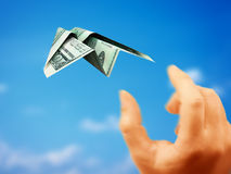 Paper plane money Royalty Free Stock Photo