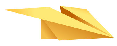 Paper plane,origami. Illustration drawing of beautiful yellow paper plane Royalty Free Stock Images
