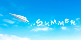 Paper plane producing cloud shape summer word Royalty Free Stock Image