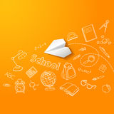Paper plane and school doodle vector background Stock Photo