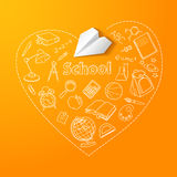 Paper plane and school doodle vector background Royalty Free Stock Photo