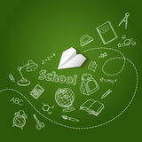 Paper plane and school doodle vector background. Concept Stock Photography