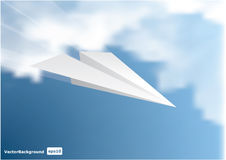 Paper plane on sky. Stock Photos