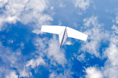 Paper plane in the sky Royalty Free Stock Photography