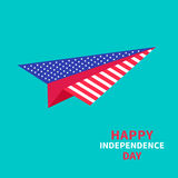 Paper plane with stars and strips. Dash line. Happy independence day United states of America.  Stock Photo