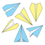 Paper Plane Thin Line Symbols Set. Paper Origami Airplanes. Paper plane navigational thin line icons set. Collection of paper origami airplane symbols. Six Stock Images