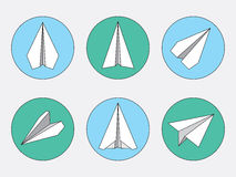 Paper Plane Thin Line Symbols Set. Paper Origami Airplanes. Paper plane navigational thin line icons set. Collection of paper origami airplane symbols. Six Stock Photography