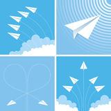 Paper planes. White paper planes flying in different directions Royalty Free Stock Images