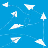 Paper planes. White paper planes flying in different directions Stock Images