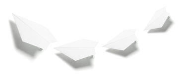 Paper Planes. On Isolated White Background Royalty Free Stock Photos