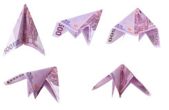 Paper planes from 500 Euro banknotes Royalty Free Stock Photography